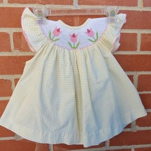 Vintage smocked seersucker tulip dress size 24M